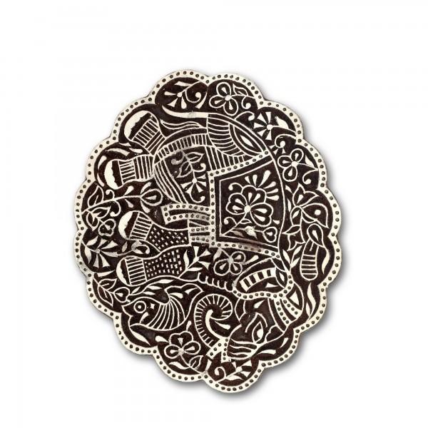 Holzstempel 'Elefant', handgeschnitzt, B 19,5 cm, H 15,5 cm