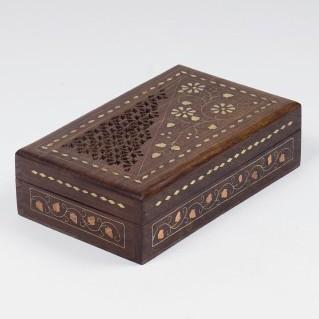 Holztruhe mit Messingintarsien, braun, L 12 cm, B 20 cm, H 6,5 cm