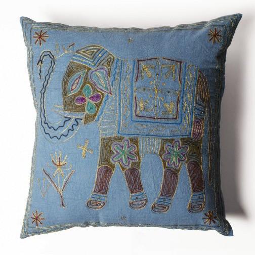 Handbestickte Kissenhülle 'Elefant', blau, L 60 cm, B 60 cm