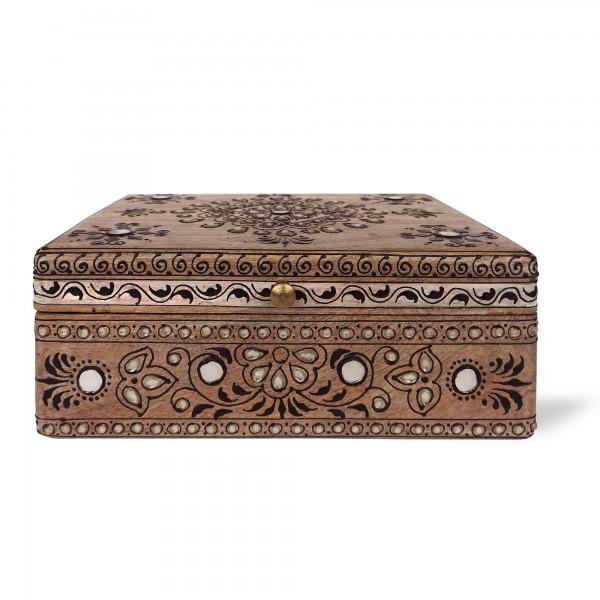 Box 'Otavalo' L , natur, schwarz, T 25 cm, B 19 cm, H 11 cm