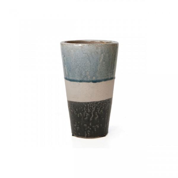 """Pflanztopf """"Stripes"""", grau/weiß/blau, H 25 cm, Ø 15 cm"""