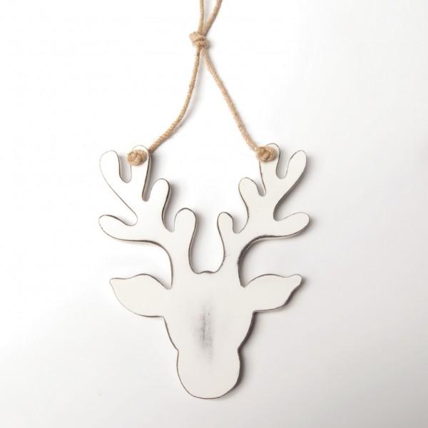 Rentierkopf aus Holz, weiß, B 17 cm, H 21 cm