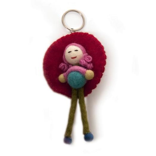 """Handgefilzter Schlüsselanhänger """"Puppe Nita"""" aus Nepal, aus 100% Schafswolle"""