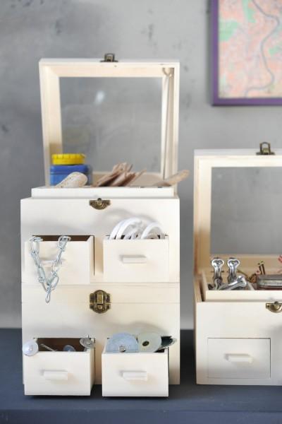 Sortierkasten 'Cajón' mit 2 Schubladen und 18 Sortierfächern, natur, L 20 cm, B 20 cm, H 13 cm