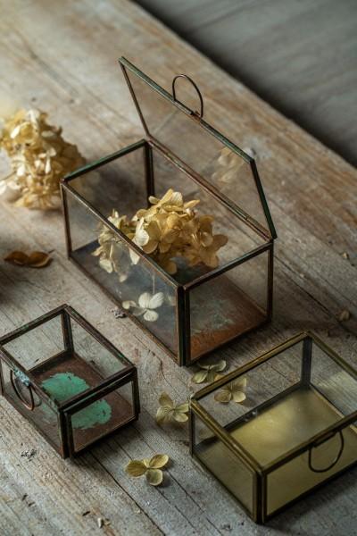 Glasbox, rost, T 15 cm, B 8 cm, H 8 cm
