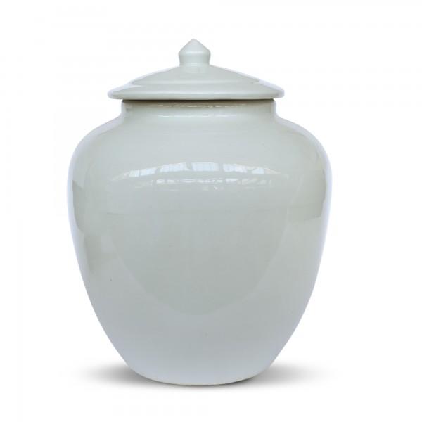 Deckelvase 'Bái', weiß, Ø 32 cm, H 36 cm