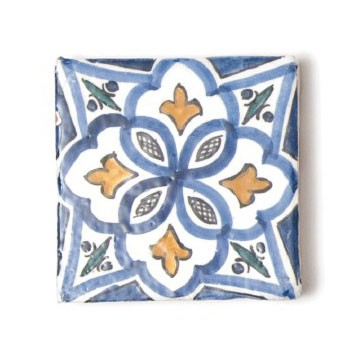handglasierte Kachel 'orient blue', blau/gelb, L 10 cm, B 10 cm, H 1cm