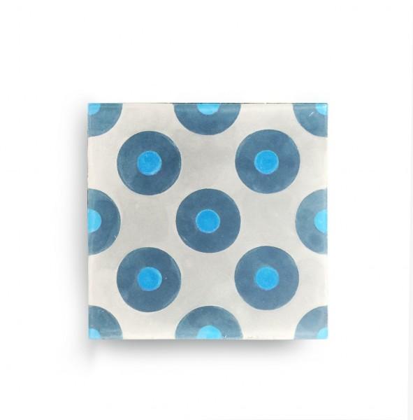 Zementfliese, grau, blau, T 20 cm, B 20 cm, H 1,6 cm