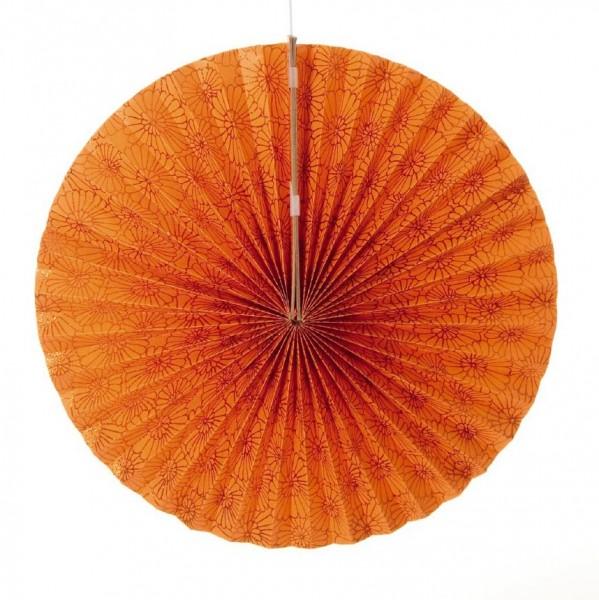 Papierlampion mit Blumenmuster, orange, Ø 55 cm