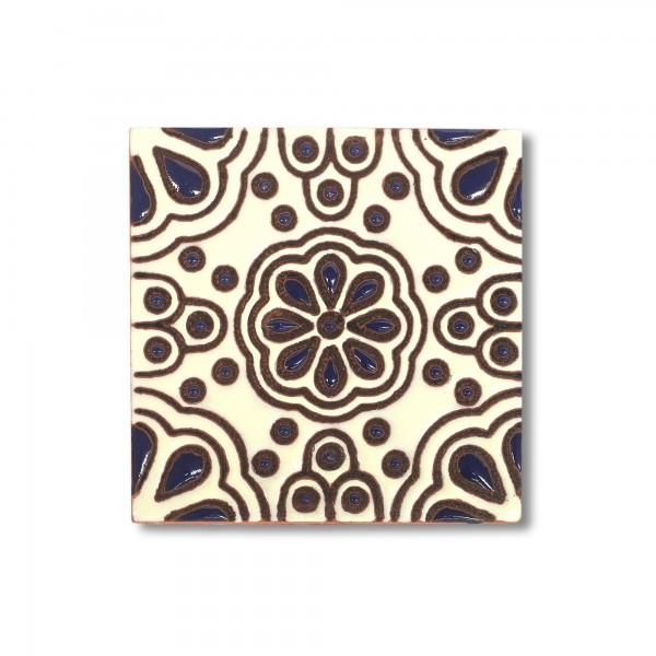 Reliefkachel 'Madero', schwarz, weiß, T 10 cm, B 10 cm, H 0,5 cm