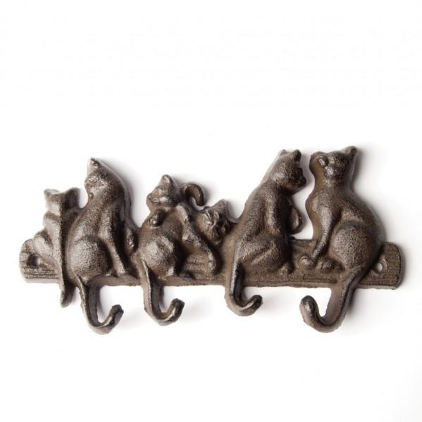 """4er Hakenleiste """"Katzen"""", antik-schwarz, B 20,5 cm, H 10 cm"""