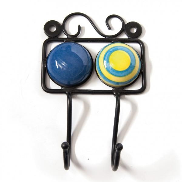 Wandhaken 2fach, blau/gelb, L 4,5 cm, B 10 cm, H 15 cm