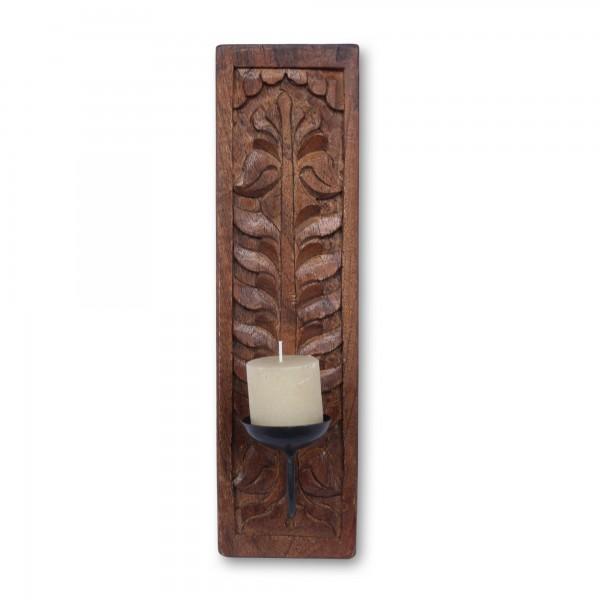 Wandkerzenhalter Holzschnitzerei, T 38 cm, B 10 cm, H 2,5 cm