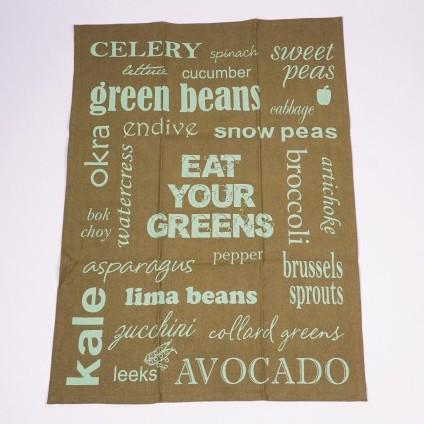 """Geschirrtuch """"Eat your greens"""", grün/weiß, L 70 cm, B 50 cm"""