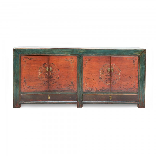 Sideboard, 2 Schubladen, 4 Türen, blau, orange, T 42 cm, B 200 cm, H 88 cm