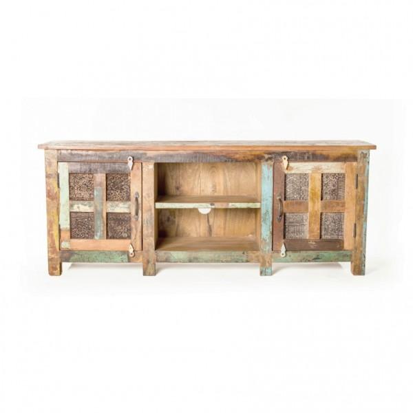 Sideboard aus recyceltem Holz, braun/multicolor, L 40 cm, B 150 cm, H 60 cm