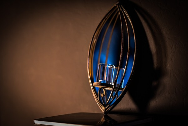 Kerzenwandhalter 'Weedham', rostbraun, T 21 cm, B 10 cm, H 42 cm