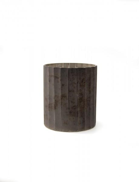 Windlicht 'Strier', grau, Ø 10 cm, H 12 cm