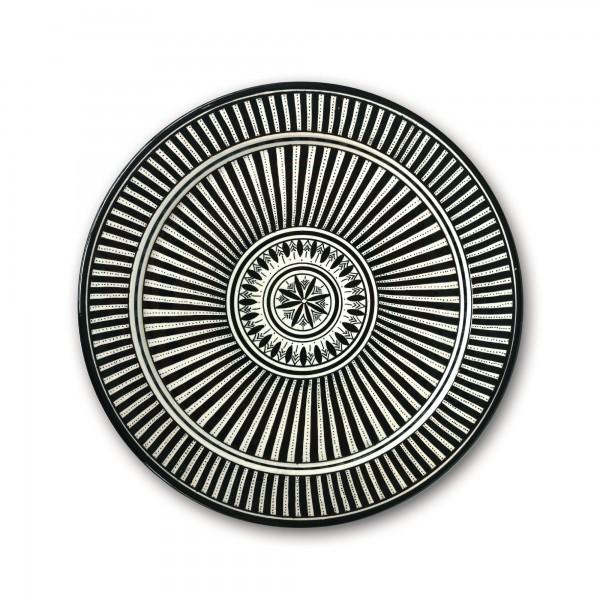 Zierteller, schwarz/weiß, Ø 40 cm