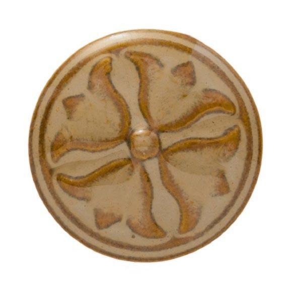 Knopf zylindrische Blüte rund, weiß/braun, Ø 3 cm