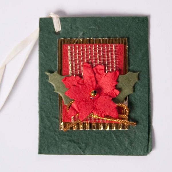 Geschenkkarte, grün/rot, B 6 cm, H 7,5 cm