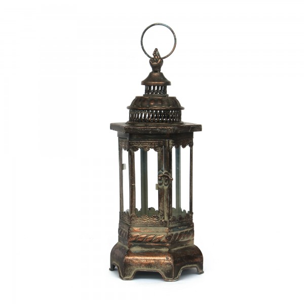 Laterne 'Tinsley', bronze, T 15cm, B 17cm, H 39cm