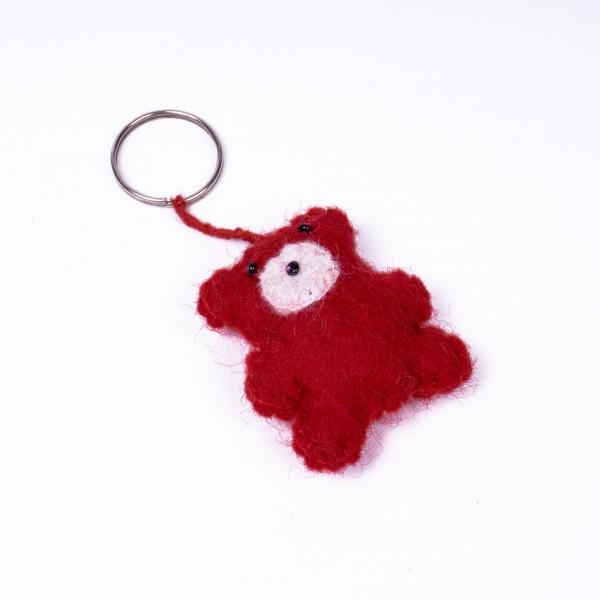 """Handgefilzter Schlüsselanhänger """"Teddy"""" aus Nepal, aus 100% Schafswolle"""