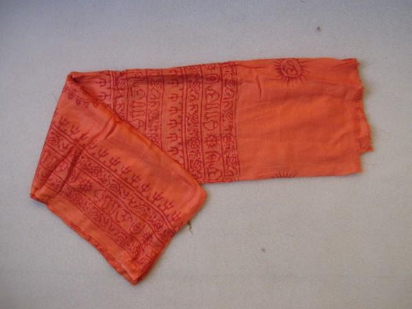 Baumwollschal groß, orange, T 190 cm, B 85 cm