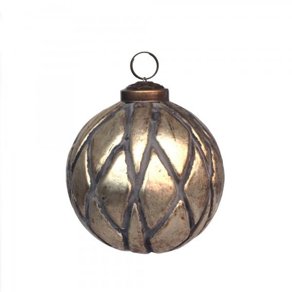 Anhänger Kugel Geäst, gold, Ø 10 cm, H 10 cm