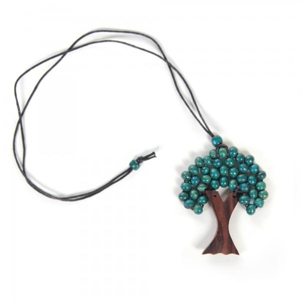 """Halskette """"Winterbaum"""", türkis/braun, H 9 cm, L 52 cm"""