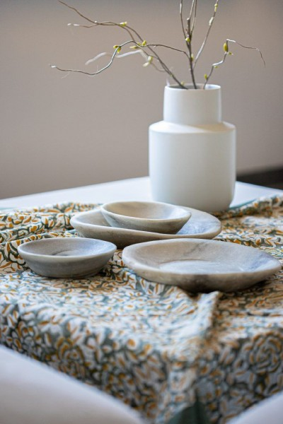 Tischdecke, grau, floral, T 100 cm, B 100 cm