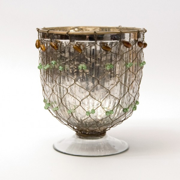 "Pokal ""Uccle"" mit Drahtgeflecht, klar/silber, H 20 cm, Ø 16 cm"