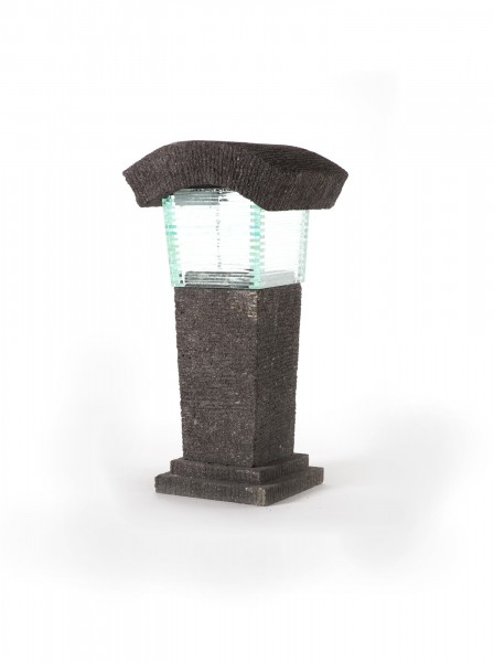 Lavasteinleuchte 'Unikoi', grau, L 22 cm, B 30 cm, H 54 cm