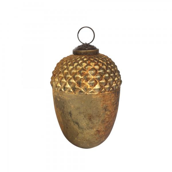 Anhänger Eichel, gold, T 10 cm, B 10 cm, H 10 cm