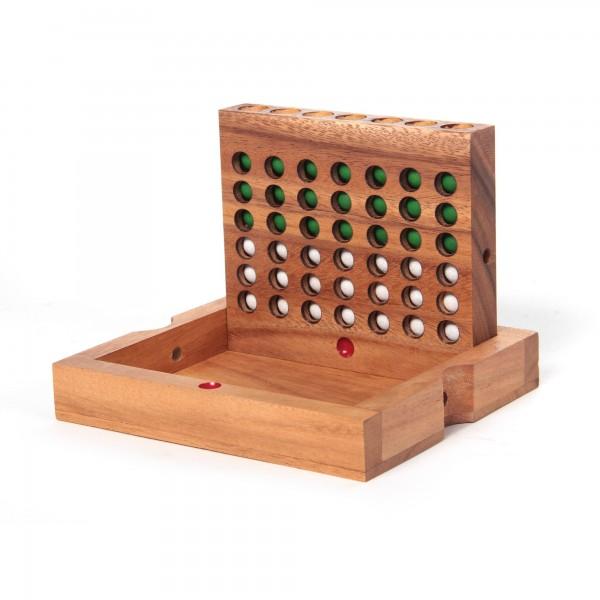 """Spiel """"Vier in einer Reihe"""", grün/weiß, aus Akazienholz"""