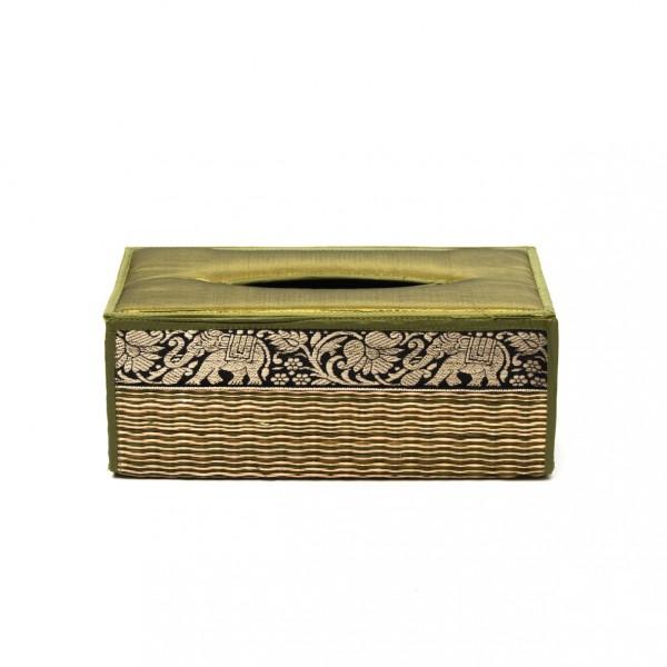Kosmetiktuchbox aus Riedgras, grün, L 13 cm, B 25 cm, H 10 cm