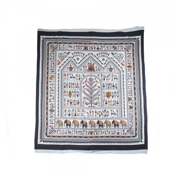 """Tagesdecke """"Elefanten"""", aus 100% Baumwolle, braun/schwarz, L 250 cm, B 220 cm"""