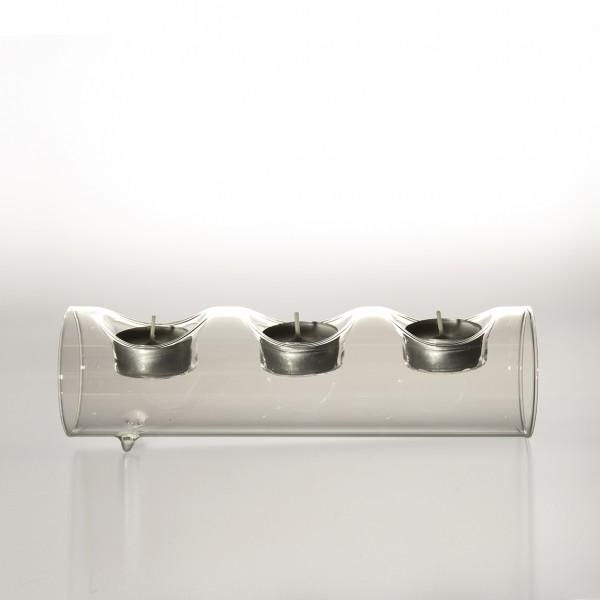 """Teelichthalter """"Tarnby"""" aus Glas, 3 Teelichter, B 23 cm, H 7 cm"""