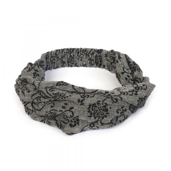 Haarband, grau, schwarz, T 54 cm, B 32 cm