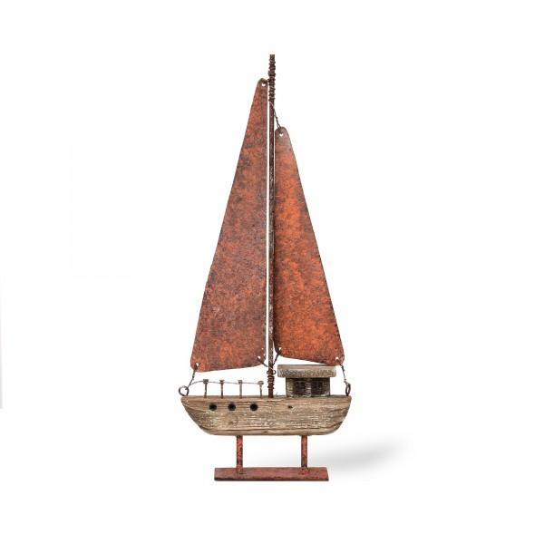 Segelboot auf Ständer, braun, T 3 cm, B 11 cm, H 26 cm