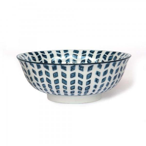 Suppenschale Muster, weiß, blau, Ø 15 cm, H 6 cm