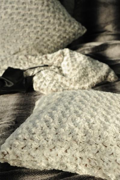Kissen 'Rosen', weiß, L 45 cm, B 45 cm