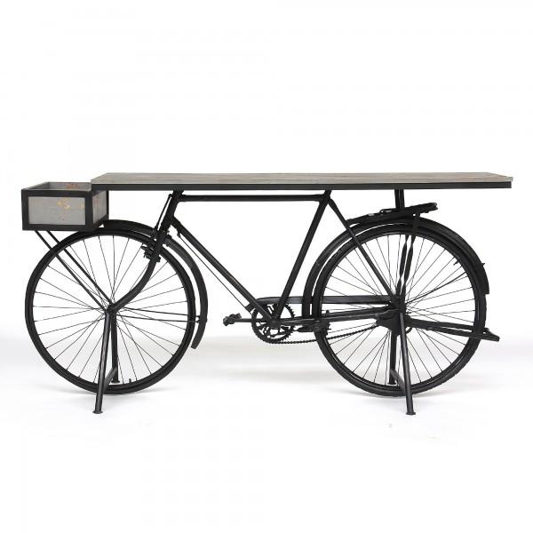 Tisch 'Vélo', schwarz, T 48 cm, B 184 cm, H 90 cm