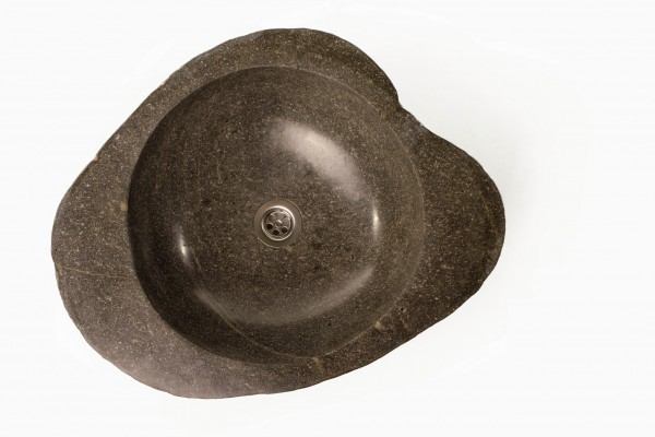 Natursteinwaschbecken rund, grau, Ø innen 35 cm