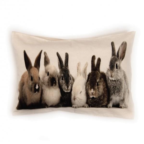 "Kissen ""Rabbits"" inkl. Füllung, weiß, 50x35 cm"