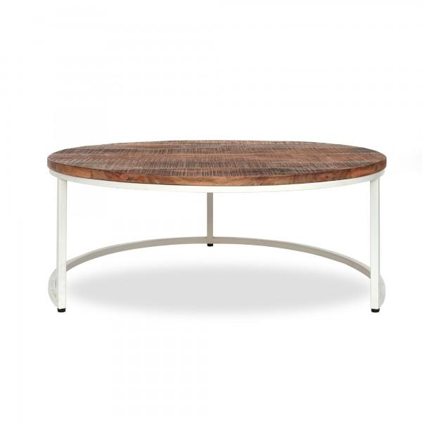 Tisch 'Stokes' L, natur, weiß, Ø 91 cm, H 41 cm