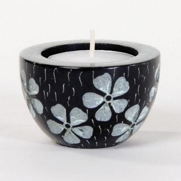 Teelichthalter, schwarz/weiß, H 4 cm, Ø 6 cm