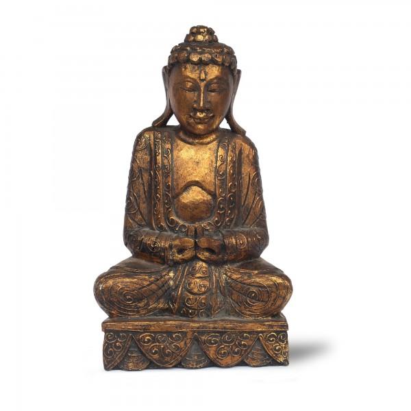Buddha sitzend schwarz/gold
