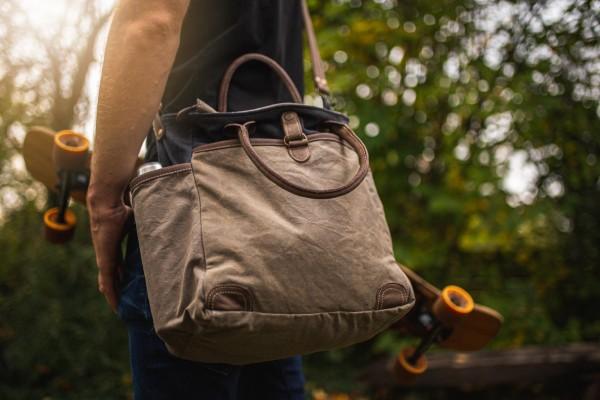 Tasche 'Le Chatelard', beige, grau, braun, T 18 cm, B 33 cm, H 36 cm