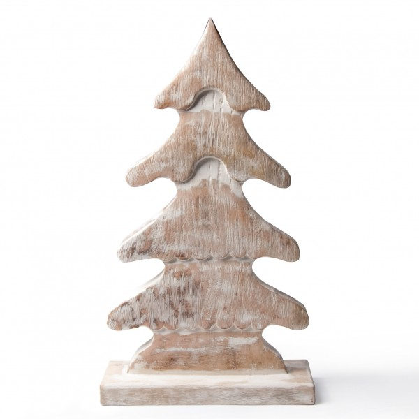 Holztanne, natur/weiß, B 35 cm, H 62 cm